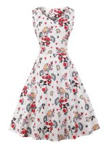 1950s Floral Print  Sleeveless Swing Dress