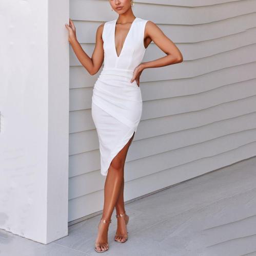 Stylish Solid Color V-Neck Asymmetrical Dress