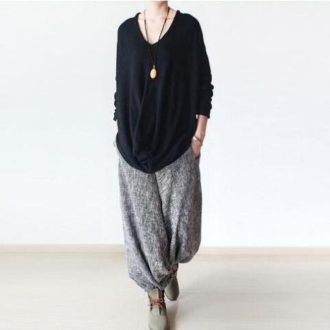 Cotton and Linen Grey Harem Pants