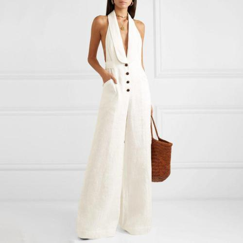 Commuting Single-Breasted V Neck Bare Back Pure Colour Jumpsuit
