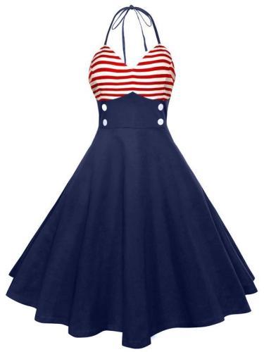 EBUYTIDE Women's Sexy Halter Vintage Dress