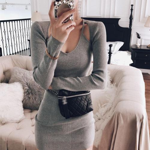 Simple Slim High-Stretch Solid Color Long Sleeve Knit Dress