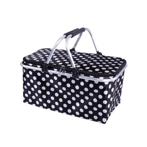 Polka Dot Picnic Basket Insulated Colder Picnic Camping Basket Cool Hamper Storage Basket Bag Box Takeaway Box