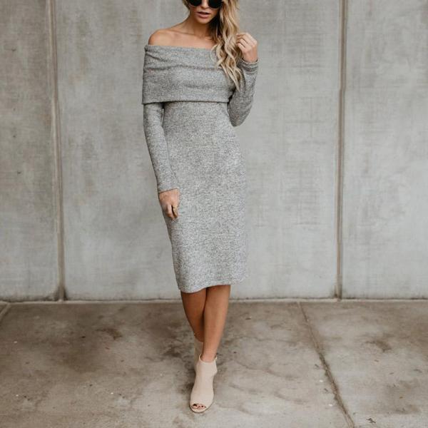 Cold Shoulder Back Slit Solid Color Sweater Dress