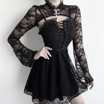EBUYTIDE Black Stand Collar Long Sleeve Lace shirts tops and women sexy sling Lace-up dresses lady Two-piece set