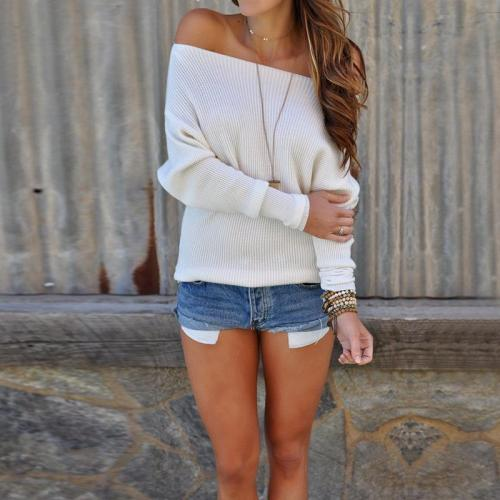 Sexy Shoulder Long Sleeves Sweater