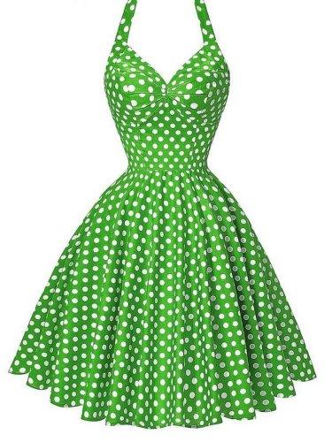 1950s Polka Dot Halter Swing Dress