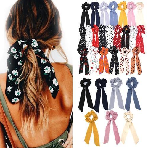2020 Bohemian Polka Dot Floral Printed Ribbon Bow Hair Scrunchies Women Elastic Hair Band Ponytail Scarf Hair Ties Accessories