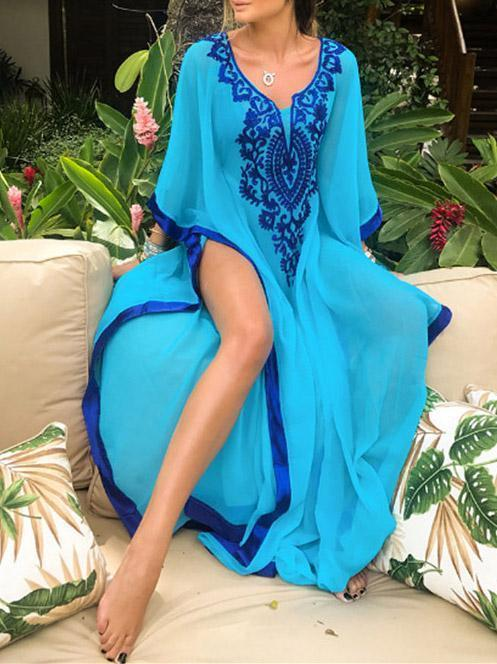 Loose Plus Size Chiffon Embroidered Cover-up Swimwear