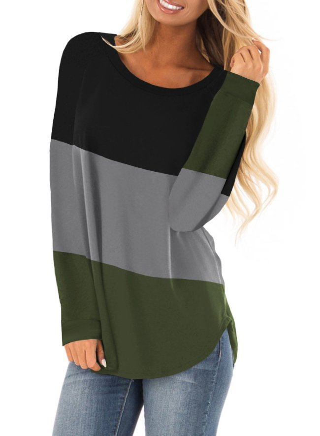 Casual Round Neck Stripes Hoodie Tops