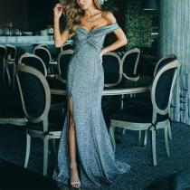 Elegant V Neck Off-Shoulder Split Evening  Dress