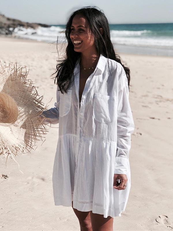 Loose Beach White Cover-ups Swimwear