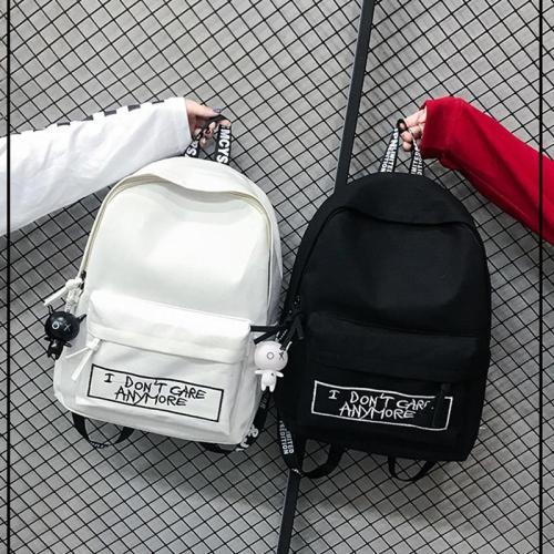 Canvas Backpack Harajuku Style Women Backpack Doll Pendant Shoulder Bag High Quality Girl School Backpack Mochila Bagpack