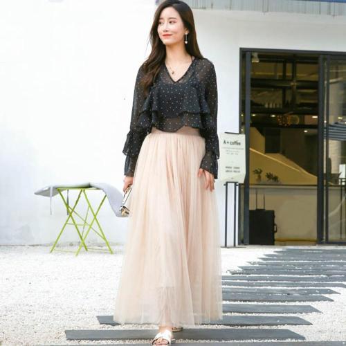Elegant Long Skirt Women Spring Elastic High Waist Mesh Tutu Skirt Females Pleated Tulle Mesh Skirt Women Vintage Party Skirt