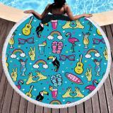 Funny Summer Element Microfiber Beach Towel Cartoon Sunglasses Slipper Skateboard Print Large Round Beach Towel For Adult