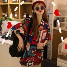 Fashion Loose Lapel Shirt Summer Casual Short Sleeve Blouse Women Print Tops