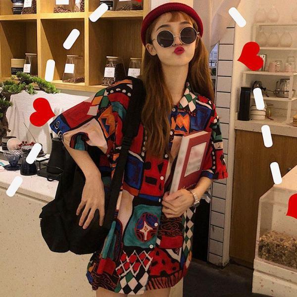 Fashion Loose Lapel Shirt Summer Casual Short Sleeve Blouse Women Print Tops