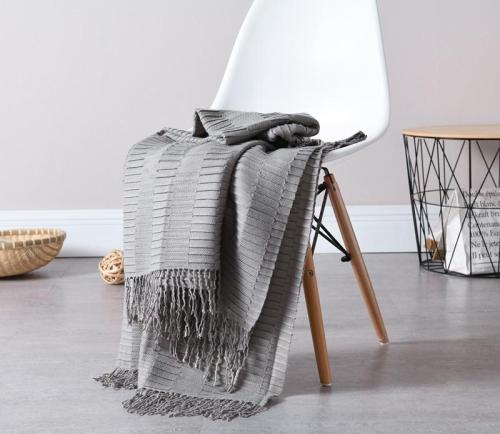 Waffle Checks Casual Plaid Knit Blanket with Tassel Thin Knitted Blanket for Bed Sofa Cover Bedspread Throw Blanket Anti-Pilling