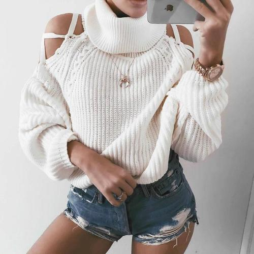 Pure Color High Neck   Warm Torn Sweater