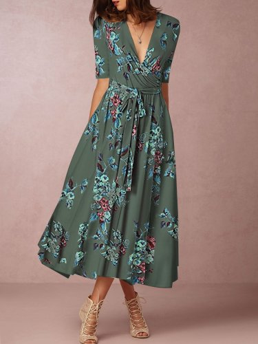 Surplice  Belt Daily Printed Maxi Dress