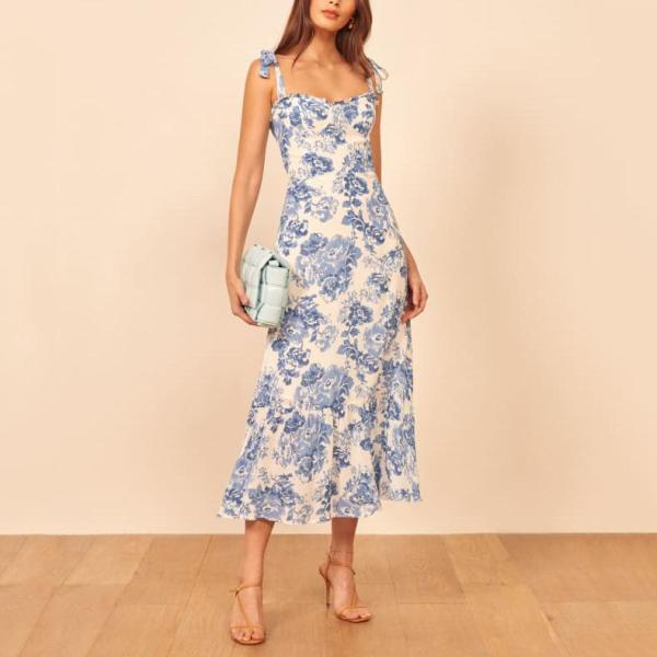 Vintage chiffon floral dress with bow and long dress