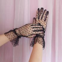 Women's Sexy Guantes Transparentes Dot Print Black White Mesh Tulle Gloves Female Club Prom Party Dancing Dress Glove