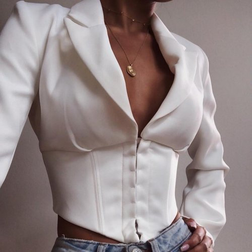 Streetwear Crop Jacket Women Coat Fashion Long Sleeve Turn Down Collar Coat White Black Sexy Deep V Neck Button Short Jackets