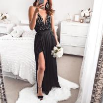 Casual Sexy Deep V   Neck Sling Evening Party Maxi Dresses
