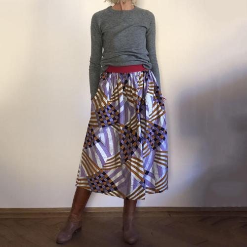 Modern Fashion Purple Printed Skirt RY58