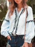 Vintage Ethnic Style Tassel Stripes Long Sleeves Bandwidth Loose Blouses