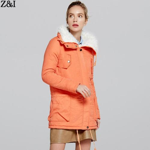 Lapel Pockets Drawstring Women Oversized Parka Jacket Coat