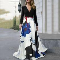 V-Neck  Belt  Printed Maxi Dress