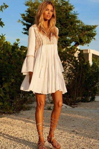 Mini Boho Dress, Beach Dress, Embroidered Dress, Rose Gold