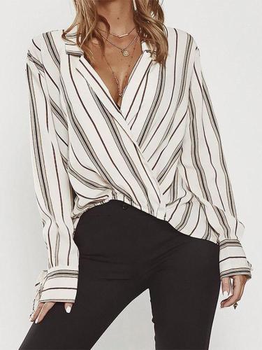 Chic Striped Loose Long Sleeve Shirt