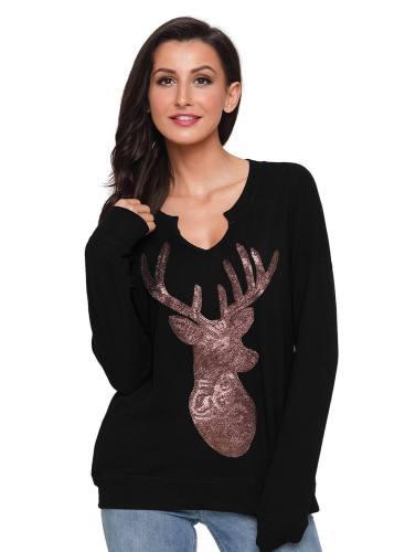 Women's Sequin Christmas Reindeer Top