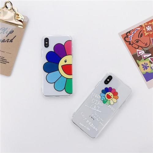 Colorful Half Sunflower Graffiti Clear Phone Case