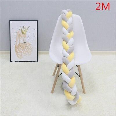 2M/3M  Knot Baby Bed Bumper Weaving Plush Infant Crib Cushion Baby Crib Protector Nursery Bed Bumper Room Decor