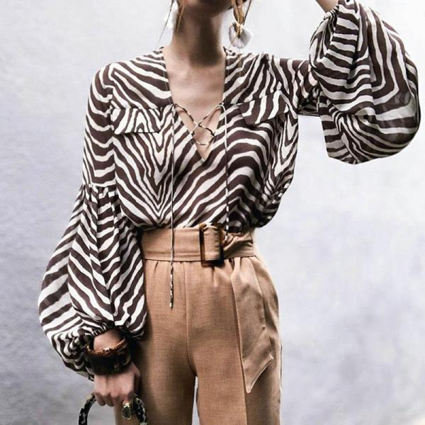 Fashion Loose Printed Chiffon Blouses