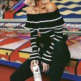 Stripe Ruffle Off Shoulder Long Sleeve Knit Sweater