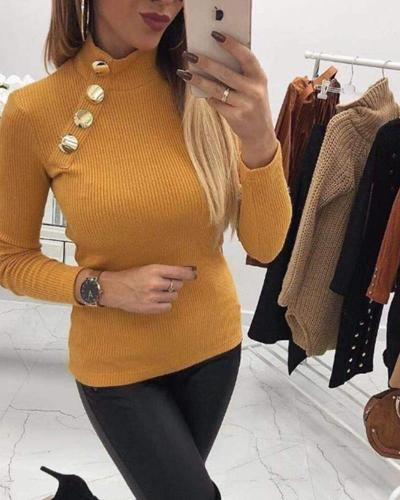 Solid Decorative Button Knit Top