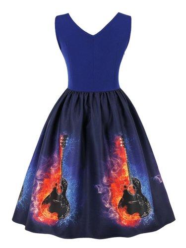 1950s Music Note Print Sleeveless Dress