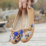 3D Flowers Women Linen Slip On Ballet Flats Breathable Fabric Shoes