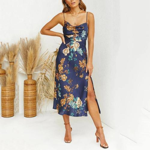Sleeveless Slim Floral Print Midi Satin Dress