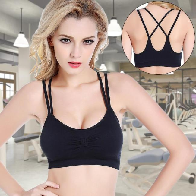 EBUYTIDE Sports Top Gym Jogging Running Sports Bra Women Tops Yoga Push Up Bra Shockproof Underwear Seamless Padded Female Push Up Bra