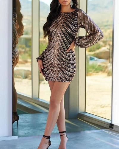 Sequined Backless Slim Lantern Sleeve Bodycon Dress