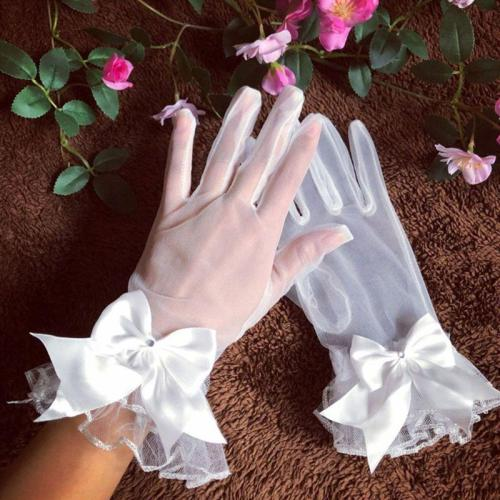 New Bride Gloves Gauze Bow-knot with Fingers Short White Glove Wedding Dress Accessories Photo Props