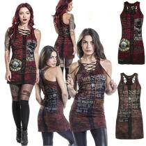 Punk Style Womens Club Gothic Skull Printing Vest Sexy Bandage Sleeveless O Neck Camisole Mini Dress Plus Size
