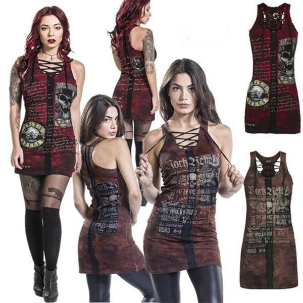 Punk Style Womens Club Gothic Skull Printing Vest Sexy Bandage Sleeveless O Neck Camisole Mini Dress Plus Size