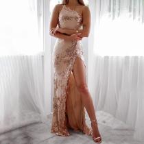 Sexy One Shoulder Side Slit Sleeveless Evening Dress