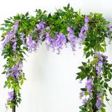 1PC Wisteria Artificial Flowers Vine Garland Wedding Arch Decor Silk Flowers Ivy Home Party Garden Wall Hanging Foliage Rattan